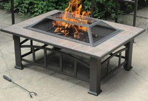 Patio Fire Pit Designs- Rectangular Tile top