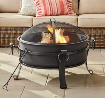 Backyard Fire Pit Accessories-BH&G round with a bowl cover