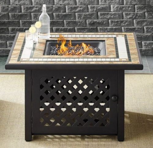 Outdoor Wicker Furniture with Fire Pit-Crosley Square with table