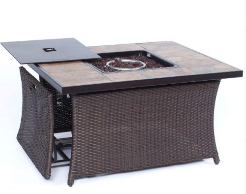 Outdoor Wicker Furniture with Fire Pit-Hanover rectangular with table