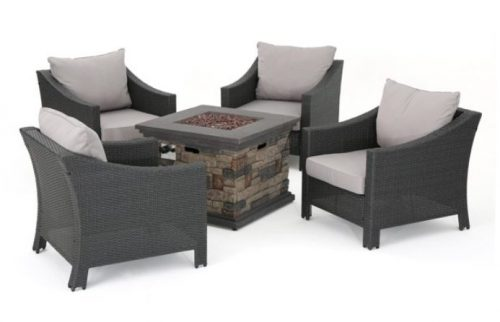 Gregory Resin Wicker Patio Set with Fire Pit Review