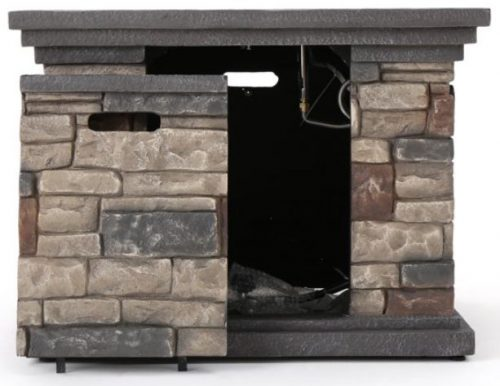 Patio set with fire pit-Noble house stone fire pit access door