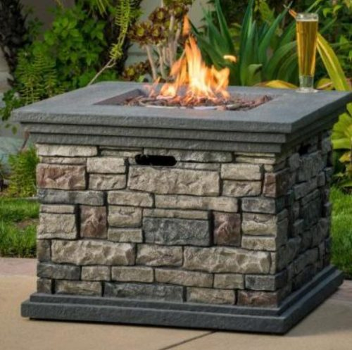 Patio set with fire pit-Noble house stone fire pit
