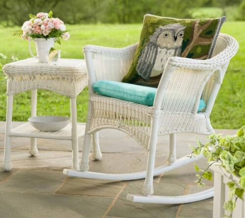 White Wicker Patio Furniture-Easy Care Rocker and side table