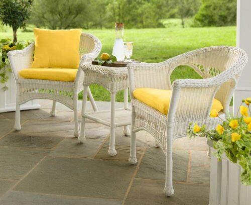 White Wicker Patio Furniture-Easy Care Bistro set