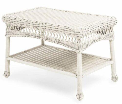 White Wicker Patio Furniture-Easy Care Coffee Table