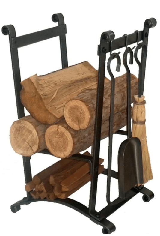 Hammered Steel Curved log rack