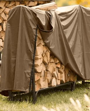 Firewood Rack with Cover-Log-rack-cover-opened-for-wood-removal