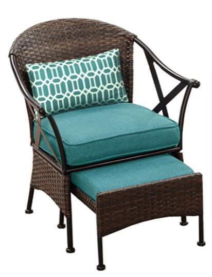 Outdoor Bistro Set with Ottoman-Skylar Glen chair with ottoman