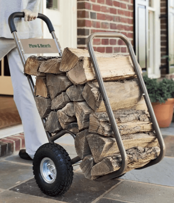 Firewood Rack with Cover--Pneumatic-wheeled-log-caddy-1