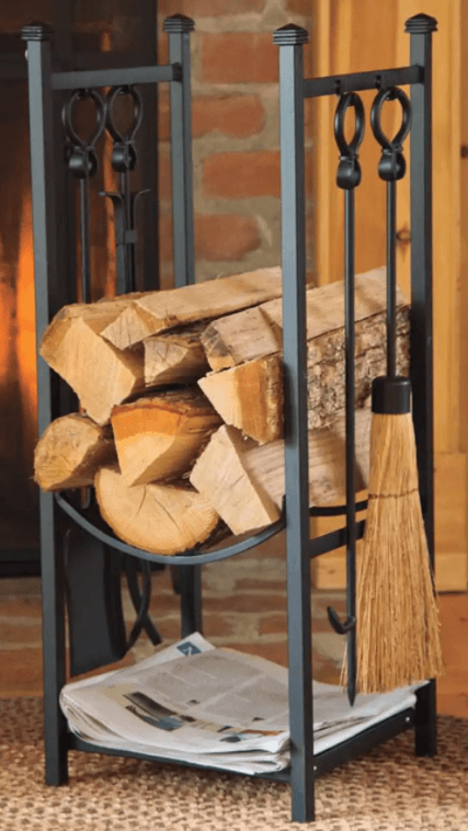Wood rack with tools
