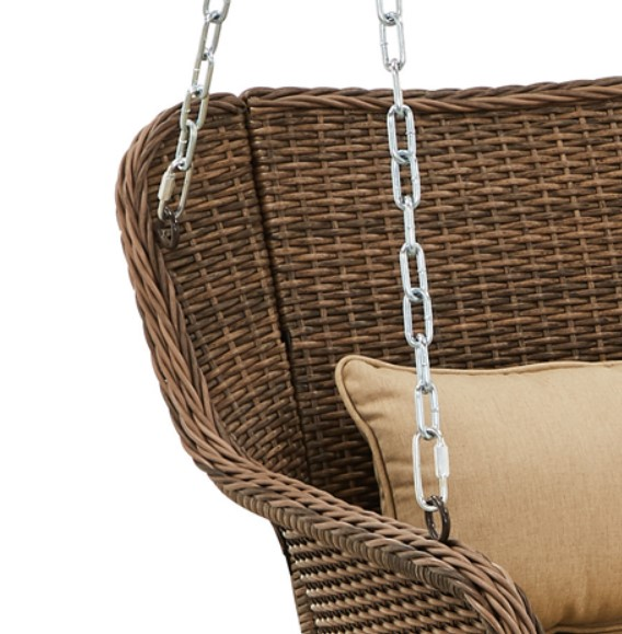 Resin Wick Porch Swing-Camrose Farmhouse Hanging hooks and chains