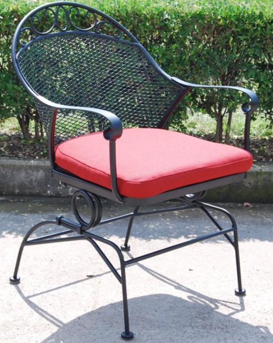 Black Wrought Iron Patio Furniture-Clayton Court chair with red cushions