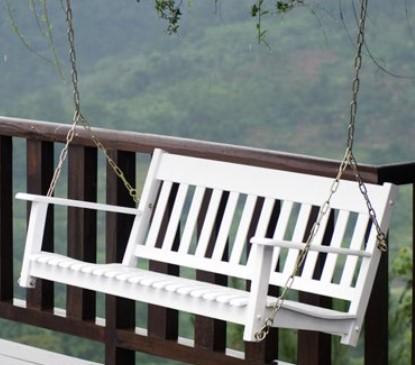 Delahey wood porch swing