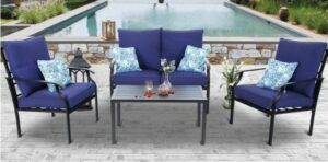 MF Studio Brown frame with blue cushions