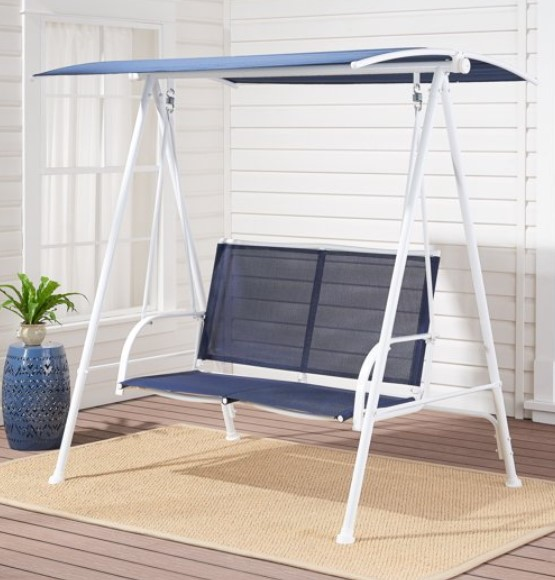 Mainstays 2 Person canopy swing White and blue