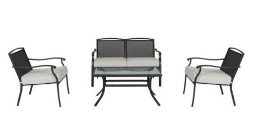 Mainstays Alexandra Square conversation set with gray cushions
