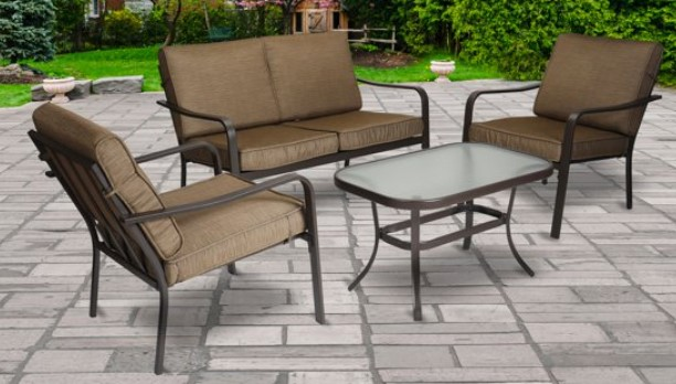 Mainstays Stanton conversation set with brown cushions