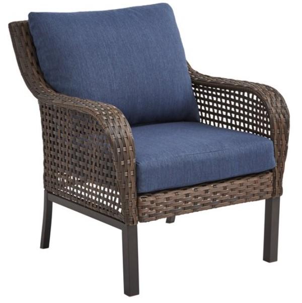 Wicker Patio Conversation Set-Mainstays Tuscany Ridge Chair with blue cushions