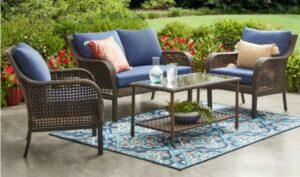 Mainstays Tuscany Ridge Conversation set with blue cushions