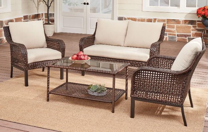 Mainstays Tuscany Ridge conversation set with tan cushions