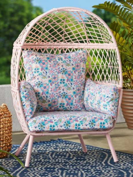 Kids Egg Chair-Ventura chair with pink cushions