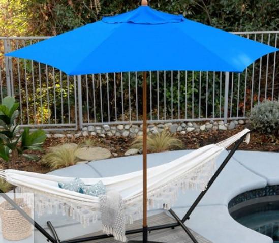 9 ft patio umbrella-Astella Wood grain look in Blue