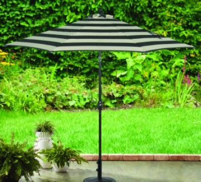 9 ft patio umbrella-Better Homes and Gardens Black and white stripped