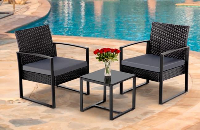 SmileMart Resin Rattan Bistro Set With Black seat Cushions