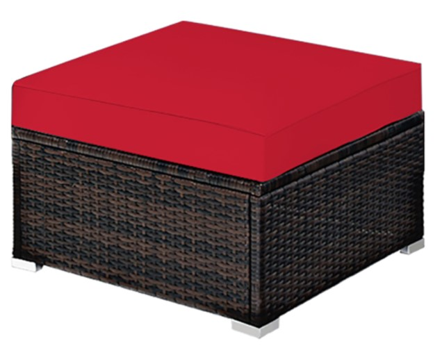 Wicker Patio Sofa Set-Goplus sectional ottoman with red cushions