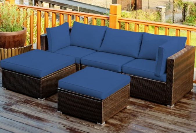 Goplus 5-Piece Wicker Patio Sofa Set with Sofa and 2 Ottomans Review
