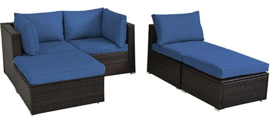 Wicker Patio Sofa Set-Goplus sectional with love seat and lounger