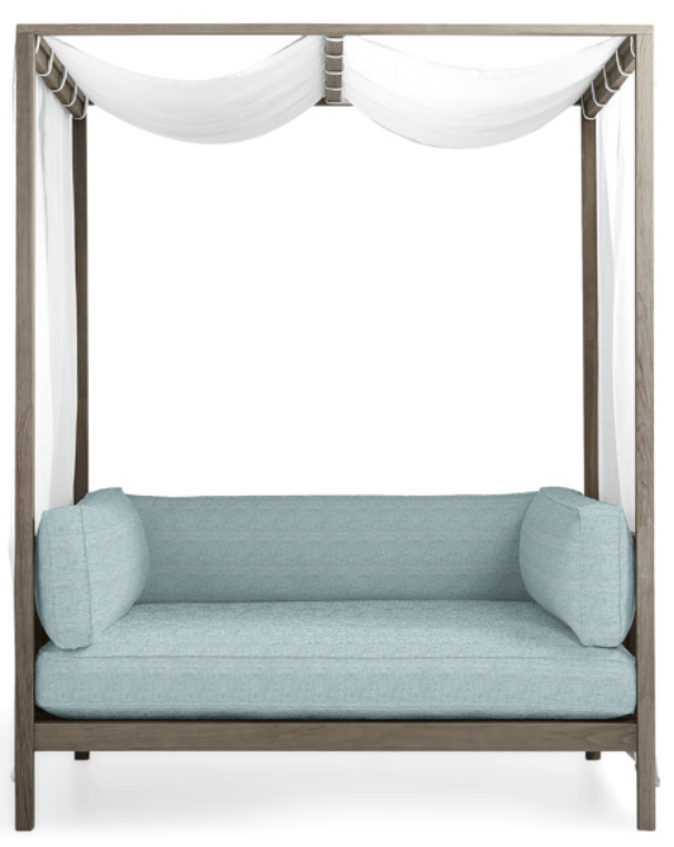 Outdoor Daybed and Canopy-Hamptons Daybed with white drape, Tania Sky cushion covers, and driftwood grey wood