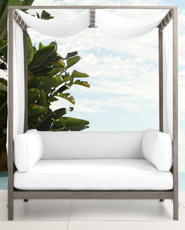 Outdoor Daybed and Canopy-Hamptons Daybed with Driftwood grey wood