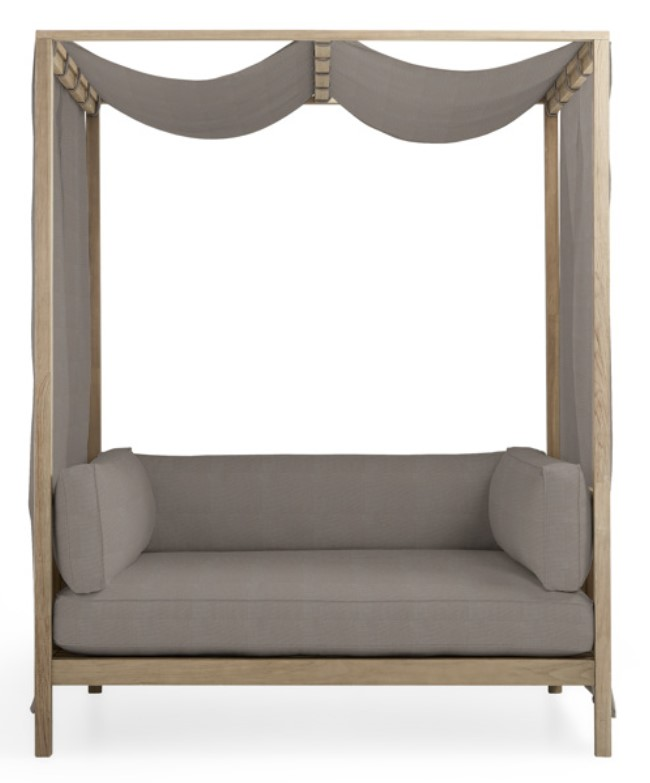 Outdoor Daybed and Canopy-Hamptons Daybed with canvas Taupe fabric