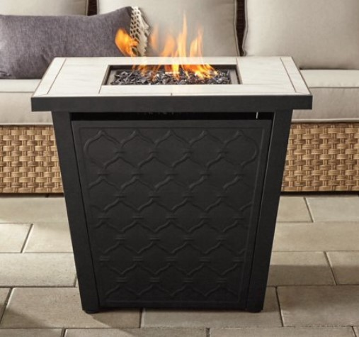 Square Propane Fire Pit Table-River Oaks gas fire pit