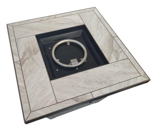 Square Propane Fire Pit Table-River Oaks tile top details