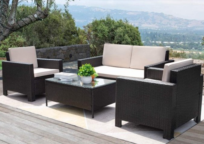 VINEEGO All Weather Wicker Patio Furniture Conversation Set