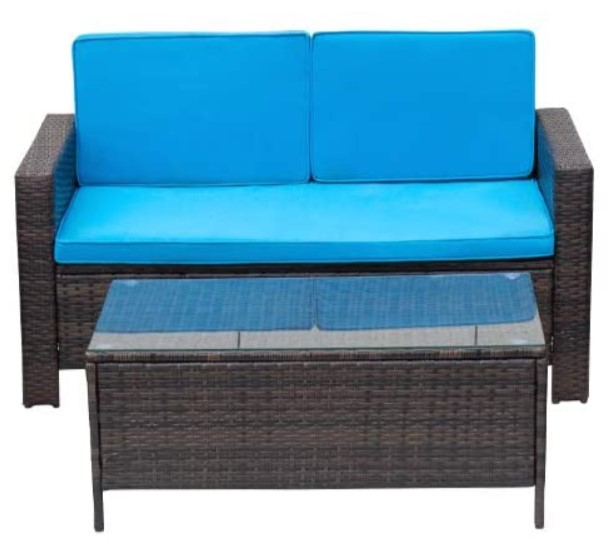 All Weather Wicker Patio Furniture-Vineego love seat and coffee table