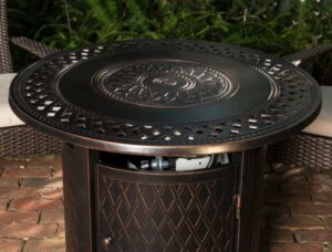 Fire Sense Wagner fire pit with fire bowl cover installed