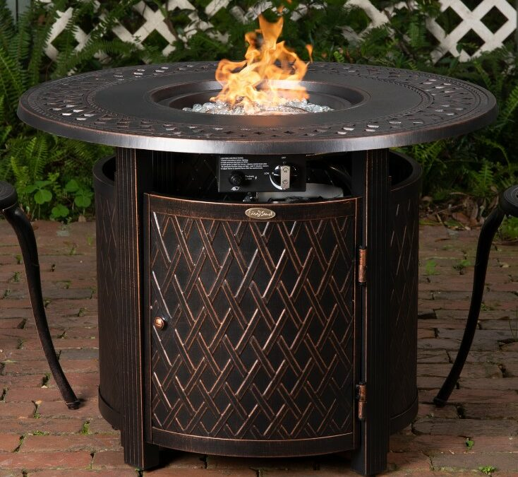 Fire Sense Wagner fire pit with flames going