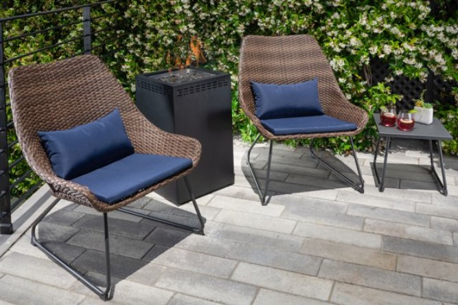 Mod Furniture Montauk Propane Fire Pit Table and Chairs set