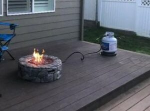 Peaktop 28 in. fire pit with 20-pound propane tank from a customer photo