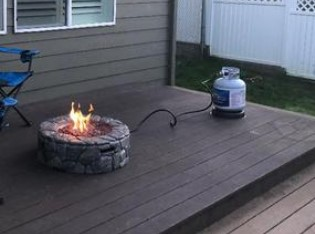 Backyard Stone Fire Pit-Peaktop 28 in. fire pit with 20-pound propane tank from a customer photo