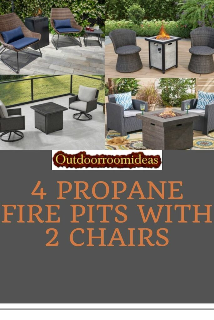 4 fire pits with 2 chairs
