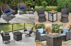 Fire pit with 2 chairs
