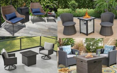 4 Sets of a Propane Fire Pit with 2 Chairs