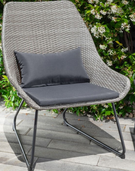 Fire Pit Table and Chairs set-Mod Furniture Montauk chair with gray cushions