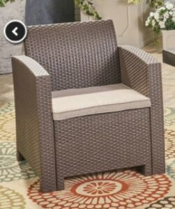 Ezequiel chat set chair brown with beige cushions