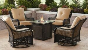 Hanover Orleans Swivel chairs with fire pit
